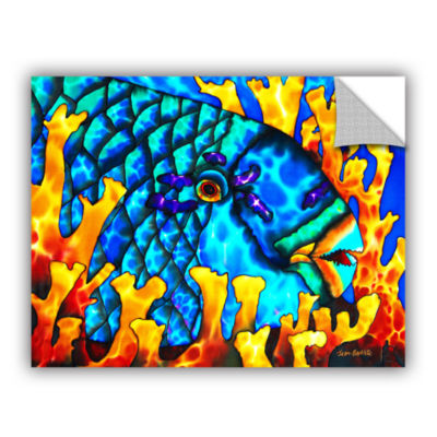 Brushstone Parrotfish In Fire Coral Removable WallDecal