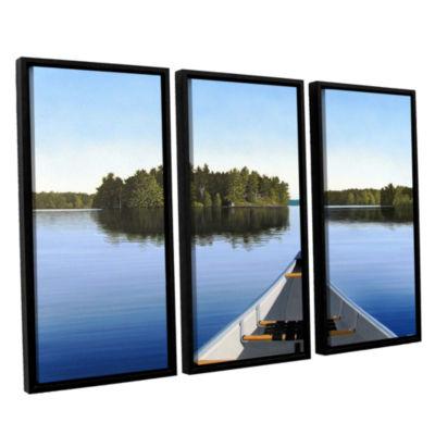 Brushstone Paddle Muskoka 3-pc. Floater Framed Canvas Wall Art