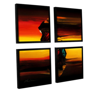 Brushstone Passing By 4-pc. Square Floater FramedCanvas Wall Art