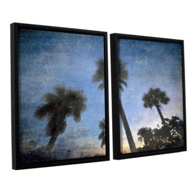 Brushstone Palms At Sunset 2-pc. Floater Framed Canvas Wall Art