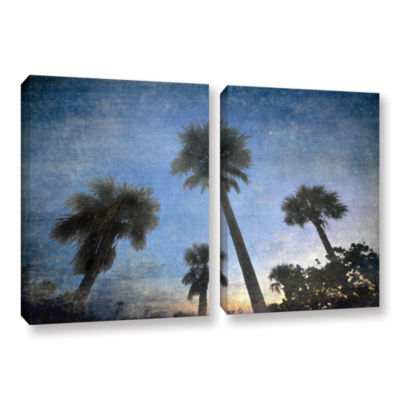 Brushstone Palms At Sunset 2-pc. Gallery Wrapped Canvas Wall Art