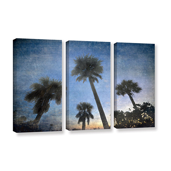 Brushstone Palms At Sunset 3-pc. Gallery Wrapped Canvas Wall Art