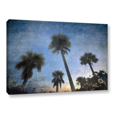 Brushstone Palms At Sunset Gallery Wrapped CanvasWall Art