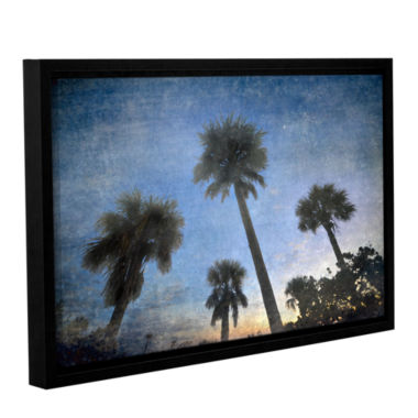 Brushstone Palms At Sunset Gallery Wrapped Floater-Framed Canvas Wall Art