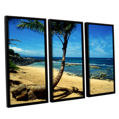 Brushstone Palm Tree In Paradise (Beach Front) 3-pc. Floater Framed Canvas Wall Art