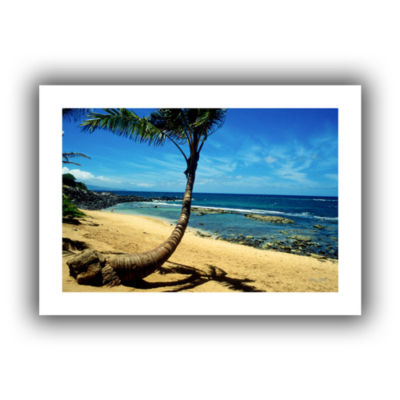 Brushstone Palm Tree (Beach Front) In Paradise Canvas Wall Art
