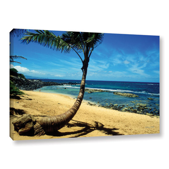 Brushstone Palm Tree In Paradise (Beach Front) Gallery Wrapped Canvas Wall Art
