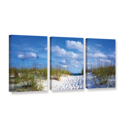 Brushstone Path To The Ocean 3-pc. Gallery WrappedCanvas Wall Art
