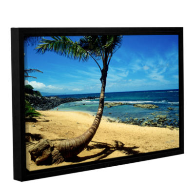 Brushstone Palm Tree In Paradise (Beach Front) Gallery Wrapped Floater-Framed Canvas Wall Art