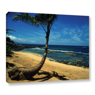 Brushstone Palm Tree In Paradise Gallery Wrapped Canvas Wall Art