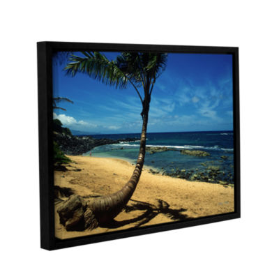 Brushstone Palm Tree In Paradise Gallery Wrapped Floater-Framed Canvas Wall Art