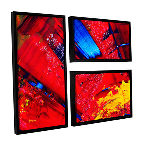 Brushstone Passionate Explosion 3-pc. Flag FloaterFramed Canvas Wall Art