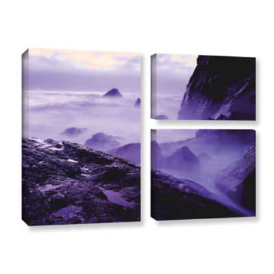 Brushstone Patricks Point Sunset 3-pc. Flag Gallery Wrapped Canvas Wall Art