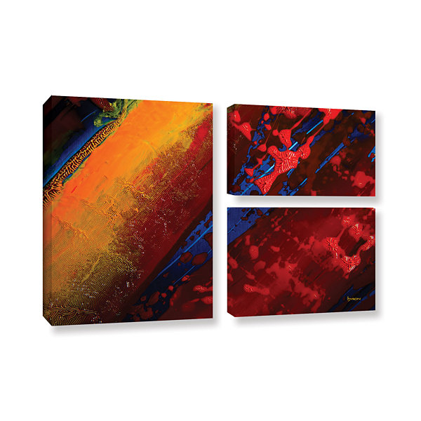 Brushstone Out From The Depth 3-pc. Flag Gallery Wrapped Canvas Wall Art