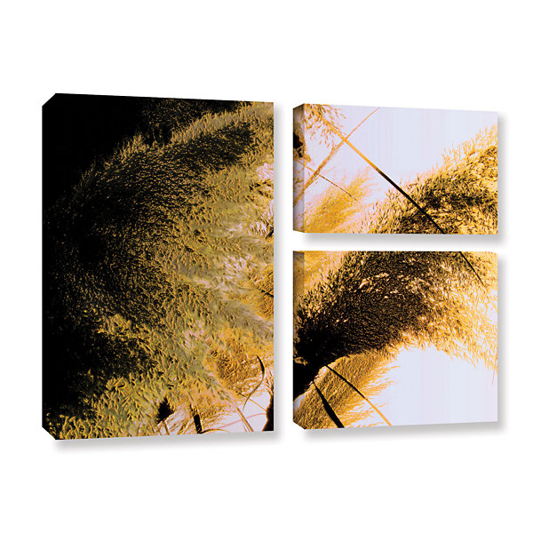 Brushstone Pampas In Relief 3-pc. Flag Gallery Wrapped Canvas Wall Art