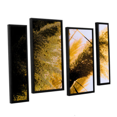 Brushstone Pampas In Relief 4-pc. Floater Framed Staggered Canvas Wall Art