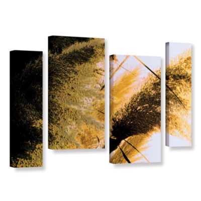 Brushstone Pampas In Relief 4-pc. Gallery WrappedStaggered Canvas Wall Art