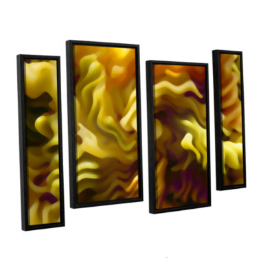 Brushstone Pasta Wave 4-pc. Floater Framed Staggered Canvas Wall Art