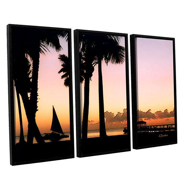 Brushstone Paradise In Nevis West Indies 3-pc. Floater Framed Canvas Wall Art