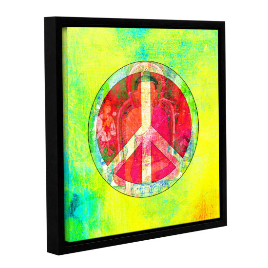 Brushstone Peace Sign Gallery Wrapped Floater-Framed Canvas Wall Art