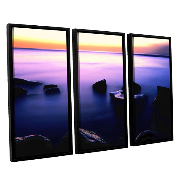 Brushstone Pacific Afterglow 3-pc. Floater FramedCanvas Wall Art