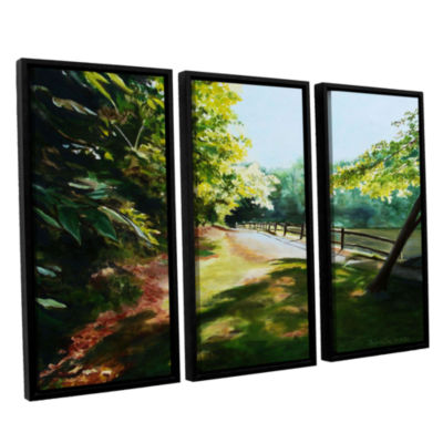 Brushstone Path At Lily Pond 3 3-pc. Floater Framed Canvas Wall Art
