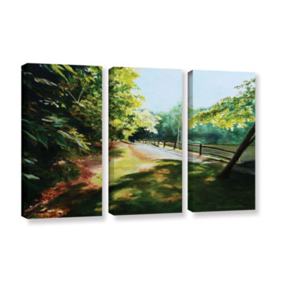 Brushstone Path At Lily Pond 3 3-pc. Gallery Wrapped Canvas Wall Art