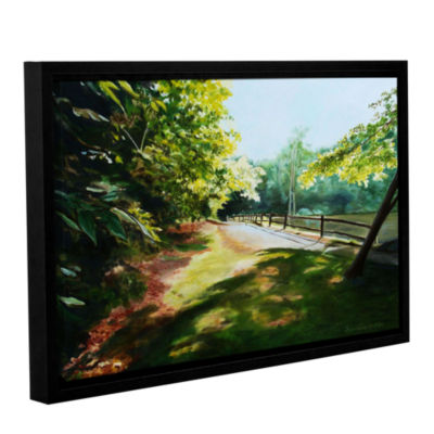 Brushstone Path At Lily Pond 3 Gallery Wrapped Floater-Framed Canvas Wall Art