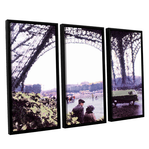 Brushstone Paris Rain 3-pc. Floater Framed CanvasWall Art