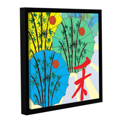 Brushstone Parasol Parade Gallery Wrapped Floater-Framed Canvas Wall Art