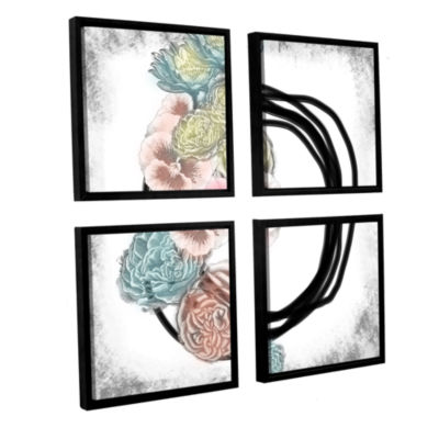 Brushstone Pansies 4-pc. Square Floater Framed Canvas Wall Art
