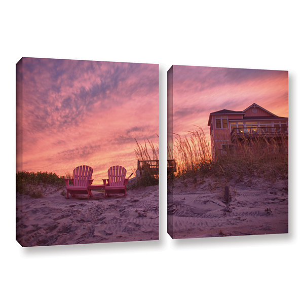 Brushstone Outer Banks-Pink 2-pc. Gallery WrappedCanvas Wall Art