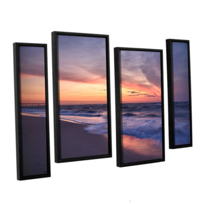 Brushstone Outer Banks Sunset I 4-pc. Floater Framed Staggered Canvas Wall Art