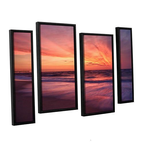 Brushstone Outer Banks Sunset II 4-pc. Floater Framed Staggered Canvas Wall Art