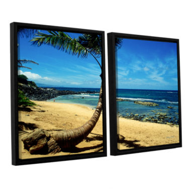 Brushstone Palm Tree In Paradise (Beach Front) 2-pc. Floater Framed Canvas Wall Art