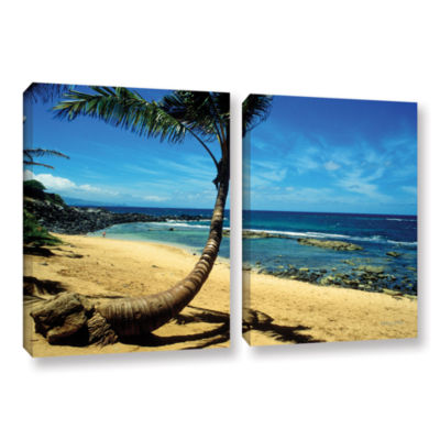 Brushstone Palm Tree In Paradise (Beach Front) 2-pc. Gallery Wrapped Canvas Wall Art
