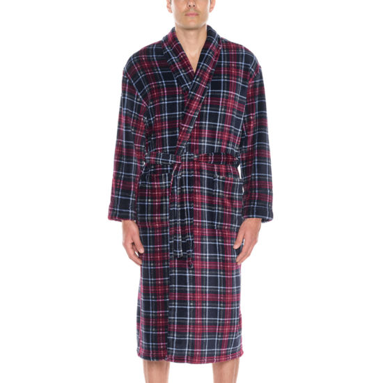 Residence Men's Fleece Plush Long Sleeve Robe