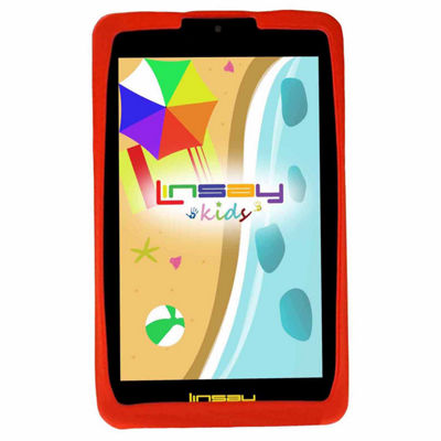 "LINSAY 7"" Kids Funny Tablet 1280x800 IPS Screen Quad Core Bundle with Red Kids Defender Case"