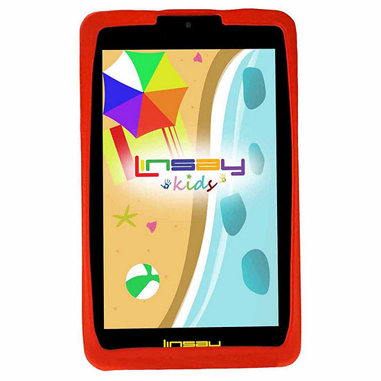 "LINSAY® 7"" Kids Funny Tablet 1024x600 HD Screen Quad Core Bundle with Red Kids Defender Case"