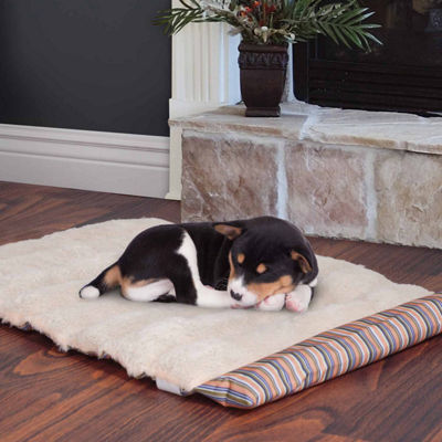 Petmaker Roll Up Travel Portable Dog Bed in CoralStripe
