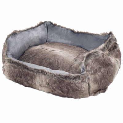 Petmaker Faux Fur Gray Wolf Dog Bed