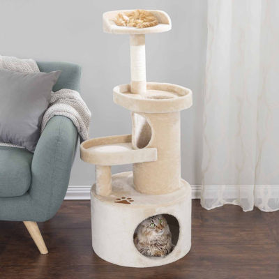 Petmaker Cat Tree Condo with Tunnel 4 tier 43in high with scratching post tan by