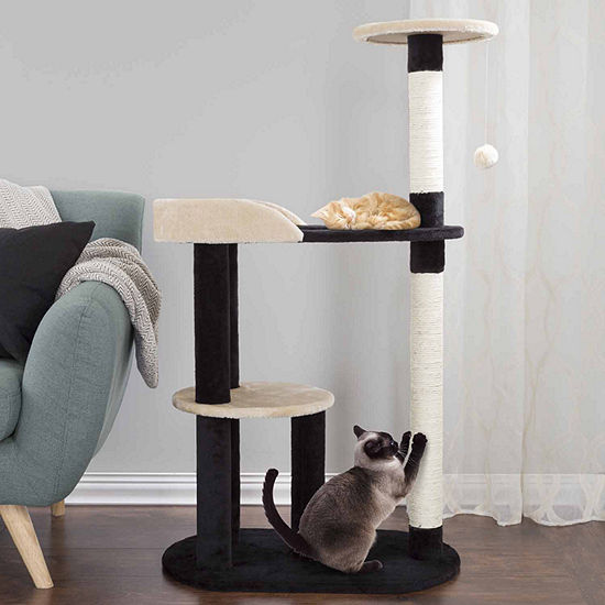 Petmaker Cat Tree 3 tier with 2 Scratching Posts in Black and Tan