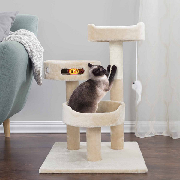 Petmaker Cat Tree 3 tier with 2 Hanging toys