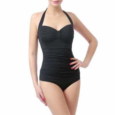 phsitic Women's UPF 50+ One Piece Halter Swimsuit   Plus