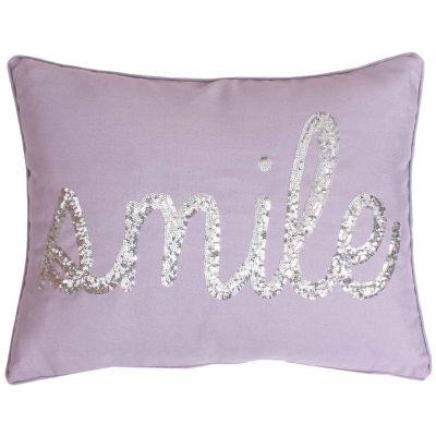Thro by Marlo Lorenz Smile Sequin Script Throw Pillow