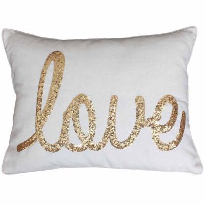 Thro by Marlo Lorenz Love Sequin Script Throw Pillow