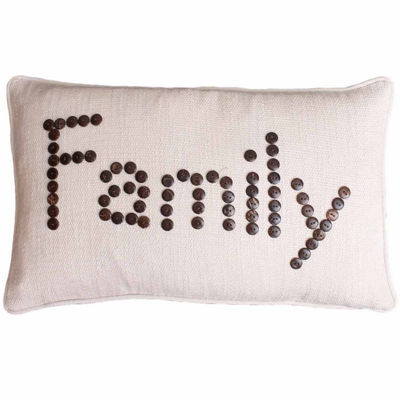 "Thro by Marlo Lorenz Natural Catalina ""Family"" Coconut Buttons Throw Pillow"""