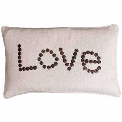 "Thro by Marlo Lorenz Natural Catalina ""Love"" Coconut Buttons Throw Pillow"""