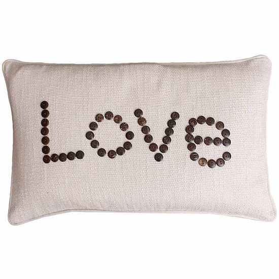 """Thro by Marlo Lorenz Natural Catalina """"Love"""" Coconut Buttons Throw Pillow"""""""